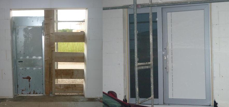 Die Eingangtür vorher und jetzt